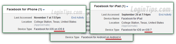 how to delete login history on facebook