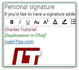 Add signature to Hotmail / Outlook.com