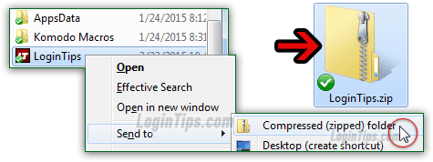 Compress folder into a zip file in Windows 7