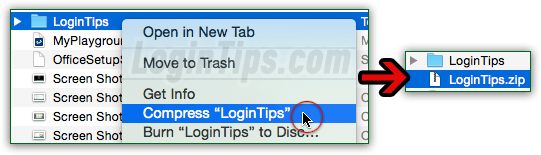 Compress folder into a zip file on Mac OS X